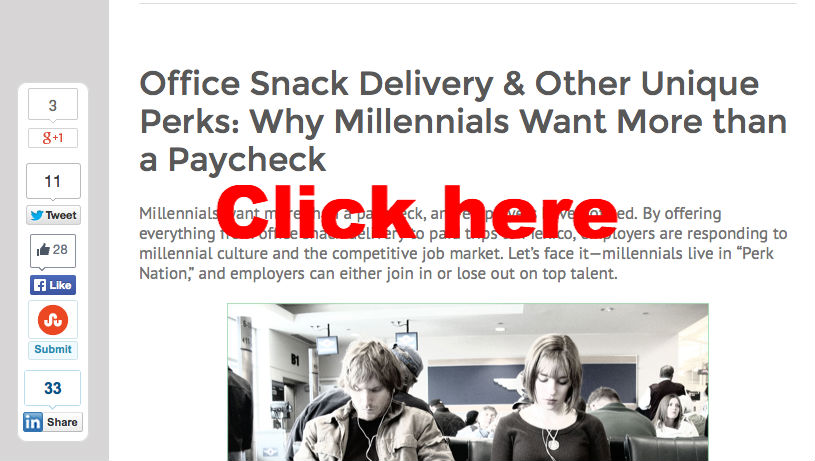SnacNation.com blog on office snack delivery & other millennial perks