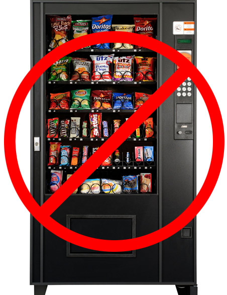 banning vending machines The proposed bill, ab 459, calls for the removal of junk food from california-owned vending machines, meaning any machine on state-run premises if passed, the ban would force vending machines to be 50% full of items that meet their nutritional guidelines by 2015, before upping that percentage to 75% in 2016 and a full-blown 100% by 2017.